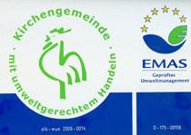 """Seit 2009 hat die Christuskirchengemeinde das kirchliche Umweltaudit """"Der Grüne Gockel"""" und die EMAS-Zertifizierung nach den strengen EU-Richtlinien."""